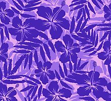 Purple tropical flowers silhouettes pattern by 1enchik