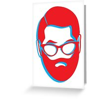 3D BEARD with glasses Greeting Card
