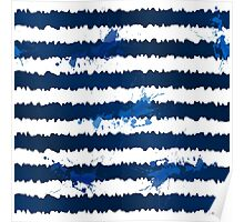 Dark blue ink stripes and splashes seamless pattern Poster