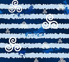 Dark blue grunge paint stripes with white celtic triskels by 1enchik