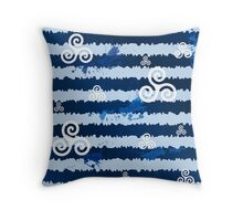 Dark blue grunge paint stripes with white celtic triskels Throw Pillow