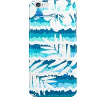 White flowers on blue painted stripes iPhone Case/Skin