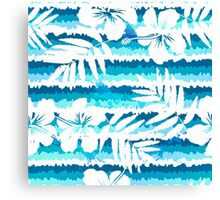 White flowers on blue painted stripes Canvas Print