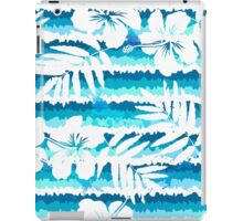 White flowers on blue painted stripes iPad Case/Skin