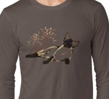 Laid Back Siamese with Leaves Long Sleeve T-Shirt
