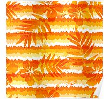 Orange bright flowers and grunge stripes Poster