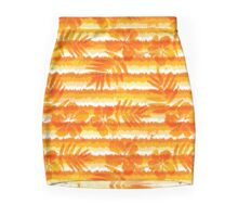 Orange bright flowers and grunge stripes Mini Skirt