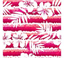 White flowers and grunge pink stripes Photographic Print