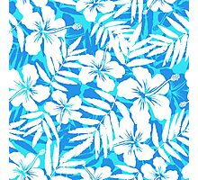 Blue and white tropical flowers silhouettes Photographic Print