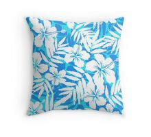 Blue and white tropical flowers silhouettes Throw Pillow