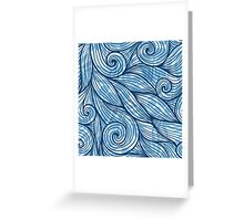 Blue hair curly waves Greeting Card