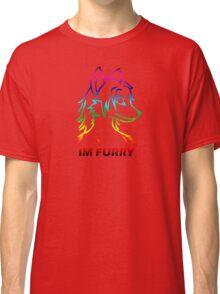 IM FURRY RAINBOW Anthro Fox Wolf Canine Classic T-Shirt