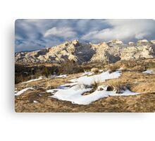 Split Mountain with Snow & Grass Canvas Print