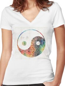 Yin And Yang - Colorful Peace - By Sharon Cummings Women's Fitted V-Neck T-Shirt