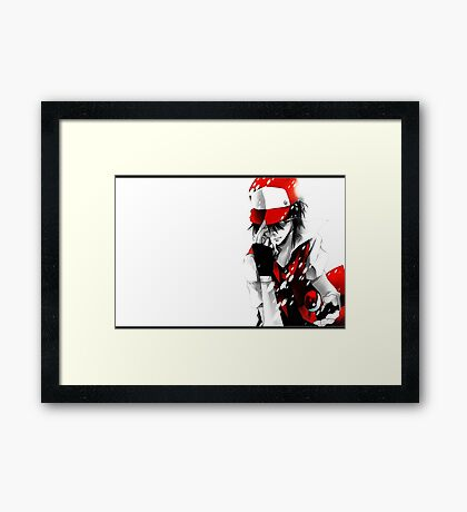anime - pokemon - trainer red Framed Print