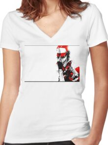 anime - pokemon - trainer red Women's Fitted V-Neck T-Shirt