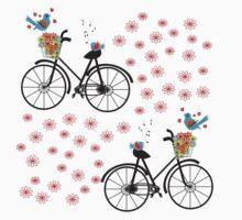 Vintage Inspired Cute Birds On A Bike Design One Piece - Short Sleeve