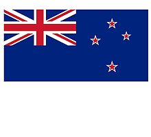 New Zealand, New Zealand Flag, Flag of New Zealand, Pure & Simple by TOM HILL - Designer