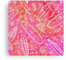 Red watercolor doodle surfing boards Canvas Print