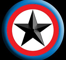 Bulls Eye Star, Right on Target, Roundel, Archery, Star, Badge, Buttton, on Black, by TOM HILL - Designer