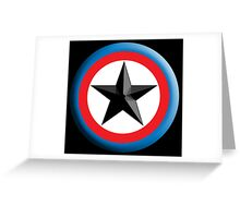 Bulls Eye Star, Right on Target, Roundel, Archery, Star, Badge, Buttton, on Black, Greeting Card