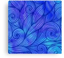 Dark blue doodle waves on watercolor background Canvas Print