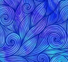 Dark blue doodle waves on watercolor background by 1enchik