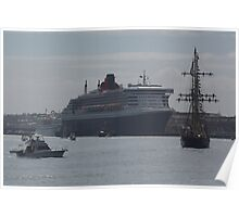 Leeuwin II & Queen Mary 2 at Fremantle Poster