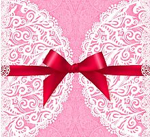 Pink lacy napkin with red bow by 1enchik