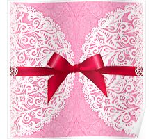 Pink lacy napkin with red bow Poster