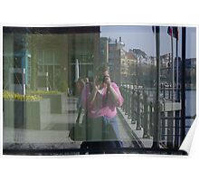 Self Portrait Via Reflective Surface Poster