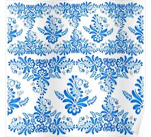 Blue floral design in Russian gzhel style Poster