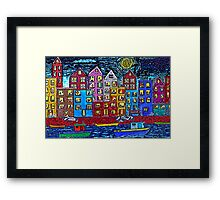 Two Tug Boats By Night Framed Print