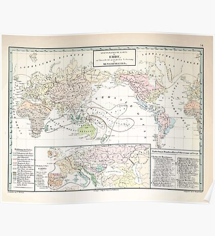 Atlas zu Alex V Humbolt's Cosmos 1851 0173 Ethnographic Dispersion of the World Poster