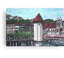 Covered Bridge on Lake Lucerne Switzerland Canvas Print