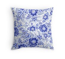 Blue floral design in Russian gzhel style Throw Pillow