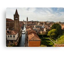 Red Roofs of Europe - Venetian Canals, Palaces, Gardens and Courtyards Canvas Print