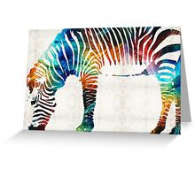 Colorful Zebra Art by Sharon Cummings Greeting Card
