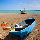 Blue Boat on the Beach by monkeypolice