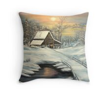 Winter in North Idaho  oil Throw Pillow
