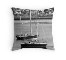 Conwy Sailing 2 B&W Throw Pillow