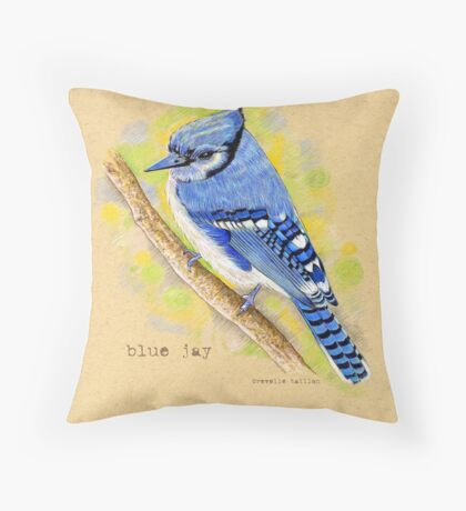 Blue Jay in colored pencil Throw Pillow