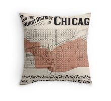 Chicago Map from 1871 after fire Restored Throw Pillow