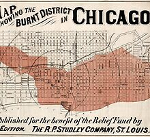 Chicago Map from 1871 after fire Restored by Carsten Reisinger