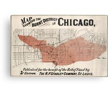 Chicago Map from 1871 after fire Restored Metal Print