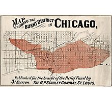 Chicago Map from 1871 after fire Restored Photographic Print