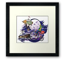 fly to the moon design t-shirt Framed Print