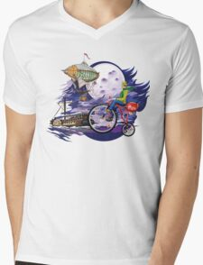 fly to the moon design t-shirt Mens V-Neck T-Shirt