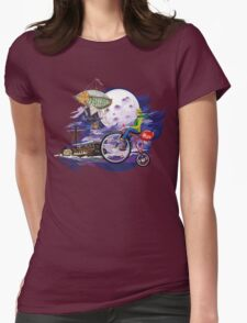 fly to the moon design t-shirt Womens Fitted T-Shirt