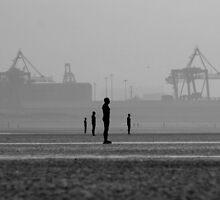 Iron men, Crosby towards Liverpool by Ian Moran